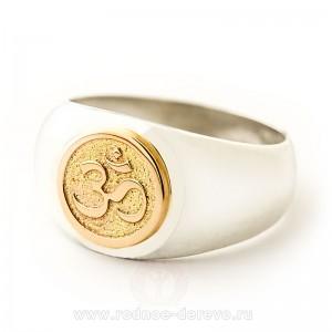 Кольцо Ом из серебра и золота