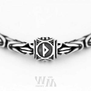 Руна Турисаз - серебро. бусина